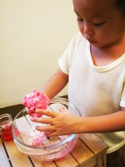 Kneading Homemade Playdough