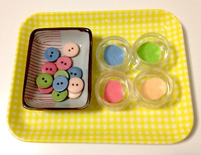 Montessori work on color matching for toddlers