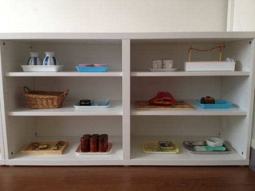 Montessori practical work shelf